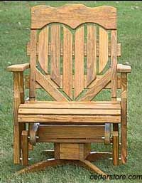 Wooden Porch Glider With Heart
