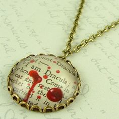 Count Dracula Necklace  Literary Vampire Quote by JezebelCharms on etsy
