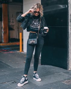 "7afd1b49a3cd LIAN GALLIARD on Instagram  ""Entire black look — minus the Prada — via   theiconicau 🖤 Featuring lots of  topshop (jeans"