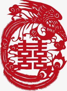 feng shui art phoenix dragon chinese paper cutting chinese new year chinese