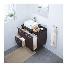 GODMORGON/TOLKEN / HÖRVIK Wastafelcombinatie 45x32, zwartbruin, antraciet - 82x49x72 cm - IKEA