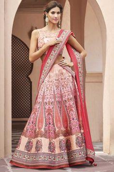 Pink and Peach heritage silk lehenga with silk choli online   http://www.andaazfashion.co.uk/womens/lehenga-choli/printed