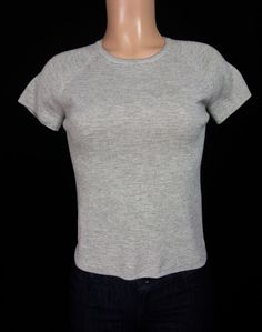 AKRIS PUNTO Knit Top 14 L Form Fit Large Gray Striped Soft Wool Short Sleeve #AkrisPunto #KnitTop #Casual