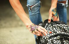 Temporary hand tattoos and a polka dotted backpack Pretty Tattoos, Love Tattoos, Hand Tattoos, Tatoos, Back Tattoo, Tattoo You, Polka Dot Backpack, Back Of Hand, Ripped Knee Jeans