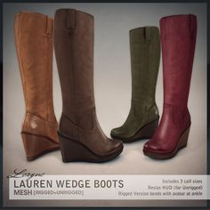 League | GUEST Lauren Wedge Boots, 6 variations available - Demo available - Included w/ 3 calf sizes - Resize HUD for unrigged version included - 188L each - 888L fatpack