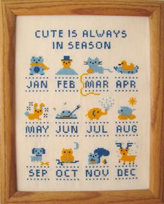 Adorable animals abound year-round! This design was originally going to be a calendar, but then I decided it would be more timeless to just display the months/seasons. I like how it turned out!