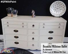 Adornment, https://www.facebook.com/adornment2012, restyled this dresser with General Finishes Millstone Milk Paint. Love the hardware! We'd love to see your projects made with General Finishes products! Tag us with #GeneralFinishes or share with us through our facebook page. #gfmilkpaint #paintedfurniture