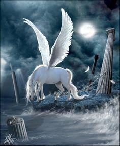 Pegasus (Ancient Greek: Πήγασος, Pégasos, Latin Pegasus) is a winged divine… Mythical Creatures Art, Mythological Creatures, Magical Creatures, Fantasy Creatures, Unicorn And Fairies, Unicorn Fantasy, Unicorn Art, Pegasus, Unicorn Pictures