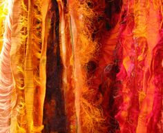 Red/Orange/Yellow Sari Silk Ribbons Mixed Pack Boho by MandalaYarn, £4.50
