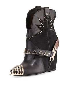 Revolver Studded Western Bootie, Black  by Ivy Kirzhner at Neiman Marcus Last Call.