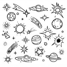 Space doodle vector elements hand drawn stars comets planets and Space Drawings, Mini Drawings, Doodle Drawings, Easy Drawings, Star Doodle, Planet Drawing, Space Doodles, Planets And Moons, Science Illustration