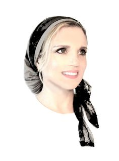 Stunning Taupe Cotton Pre Tied Head Scarf With Attached Black Lace Wrap By