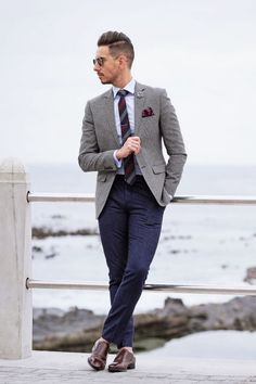 Gray blazer striped tie flower lapel maroon pocket square monk strap shoes - Get your new Accessorie NOW with a Discount code Gray Blazer Men, Blue Pants Men, Blazer Outfits Men, Mens Fashion Blazer, Suit Fashion, Gray Jacket, Men's Outfits, Striped Blazer, Navy Pants