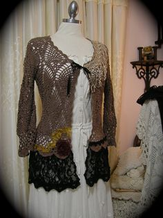 Romantic bohemian crochet sweater with black lace embellishment. by GrandmaDede, $100.00 on Etsy.