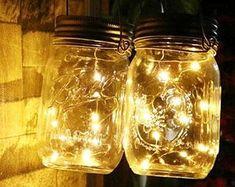 8 Rose Gold Wire Mason Jar centerpieces wedding Mason Jar   Etsy Jar Centerpiece Wedding, Mason Jar Centerpieces, Mason Jars, Mason Jar Lighting, Gold Wire, Fairy Lights, String Lights, Bulb, Room Decor