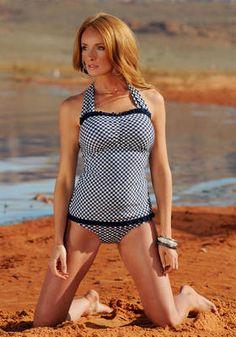 Nautical Blue Gingham Ruffle Square Halter Modest Swimwear