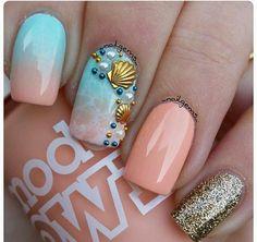 peach summer nails beach nails Cool Tropical Nails Designs For Summer Tropical Nail Designs, Colorful Nail Designs, Nail Art Designs, Nails Design, Beach Nail Designs, Colorful Nails, Tropical Nail Art, Coral Nails With Design, Summer Nails 2018