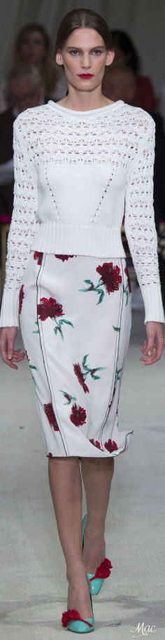 Oscar de la Renta S-16 RTW: white openwork jersey, carnations skirt, awesome teal & flower shoes. Stunning.