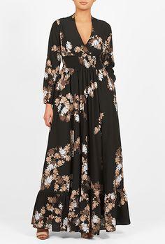 I <3 this Leaf print crepe smocked waist maxi dress from eShakti