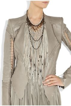 Roberto Cavalli Sterling silver and suede necklace