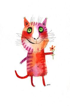 The cat with a flower, original painting by ozozo. €40,00, via Etsy.