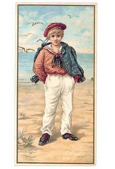 Victorian 1890 Vintage Boy in Red, White, Blue Sailor Outfit Card