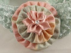 Pastel Green & Peach Crochet Headband with Yo by SursyShop on Etsy, $5.00