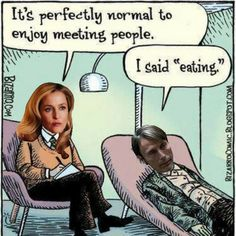 """zombie therapy - It's perfectly normal to enjoy meeting people - I said """"eating."""" Psychology and therapy humor Zombies, Mental Health Humor, Bizarro Comic, Therapy Humor, Therapy Quotes, Psychology Humor, Spanish Jokes, Spanish 101, Learn Spanish"""