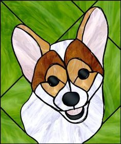 this exists! stained glass corgi!