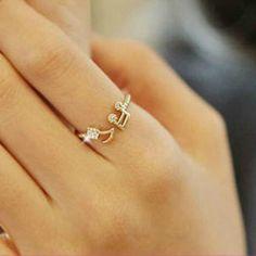 Cute Musical Note Openings Adjustable Rhinestone Midi Rings for Women Jewelry