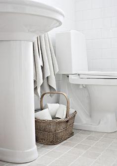 Guest Bath ~ Tumbled Limestone Floors Bathroom Inspo, Laundry In Bathroom, Bathroom Ideas, Living Room Kitchen, Kitchen And Bath, Limestone Flooring, Timber Furniture, Empty Room, Scandinavian Home