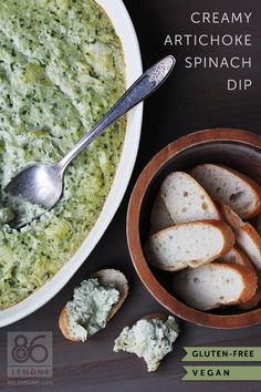 Creamy Artichoke Spinach Dip (vegan, gluten-free) Only gluten-free, I think, if you aren't eating the bread she is picturing here...or else I don't actually know what gluten is.