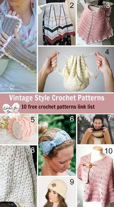 Vintage Style Crochet Patterns - 10 free crochet pattern link list #crochet #vintagestyle #freecrochetpatterns