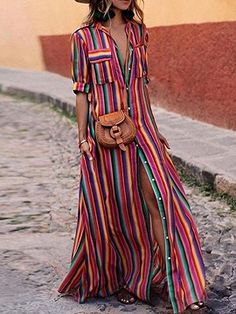 Shop for the Polychrome Stripe Lapel Button Placket Front Maxi Dress online now.Choies.com offer the latest fashion women Dresses at cheap prices with free shipping.
