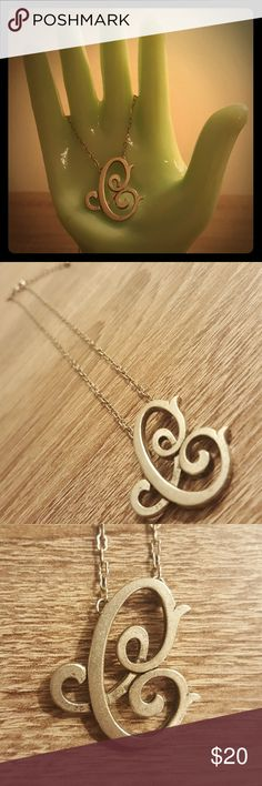 """""""C"""" Monogram Initial Necklace JK by Thirty-One Monogram Initial necklace has an 18"""" chain with 2"""" extender and an antiqued silvertone script capital C pendant.  NWOT, from the JK by Thirty-One spring/summer 2015 collection. JK by Thirty-One Jewelry Necklaces"""