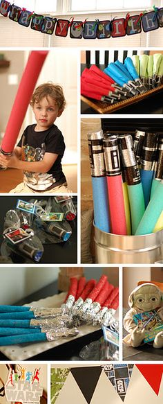 Star Wars Themed Birthday Party - Love the Pool Noodles!