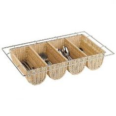 Rattan Basket Cutlery Dispenser (Wire Chrome Frame) 4 compartment - 100 x 325 x - Ideal for the home or professional kitchen Cutlery Storage, Kitchen Cutlery, Kitchen Dining, Buffet, Family Dining Rooms, Gn, Professional Kitchen, Rattan Basket, Rattan