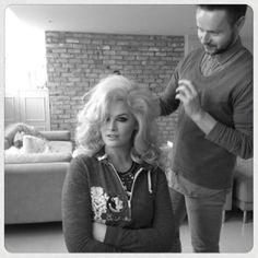 Model Whitney Thompson in a behind the scenes image of her hair and makup for a photoshoot today.