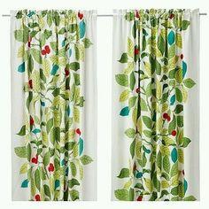 IKEA Stockholm Blad Green Pair of Curtains Drapes Leaf Leaves 2 Panels | eBay