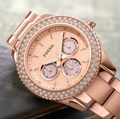 Fossil watch Awesome piece to make an outfit pop! Rose gold with stones. Only worn twice Fossil Accessories Watches Fossil Watches, Cool Watches, Women's Watches, Jewelry Accessories, Fashion Accessories, Women Accessories, Boyfriend Watch, Rose Gold Watches, Luxury Watches