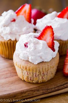 Fresh Strawberry Cupcakes.