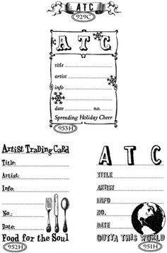 Artist Trading Cards - stamps from Cats Life Press...very handy!