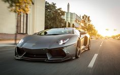 Gray sports car, Lamborghini Aventador, front view wallpaper