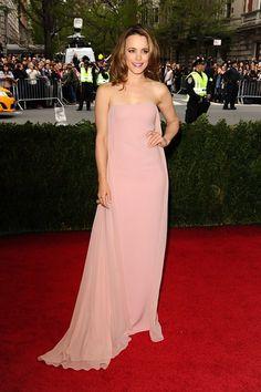 Rachel McAdams Pale Pink Strapless Sexy Prom Dress 2014 Met Ball