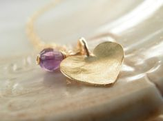 Modern Jewelry Amethyst Jewelry, Holiday Sale, Purple Amethyst Heart Necklace, 14K Gold Filled, Febuary Birthstone on Etsy, $38.12 CAD