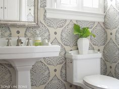 Tone On Powder Room Renovation Galbraith And Paul Lotus Wallpaper