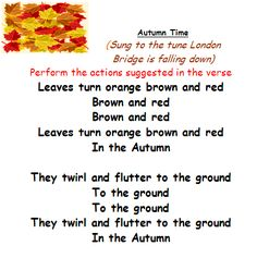 Autumn song suitable for early years Movement /P.E. session