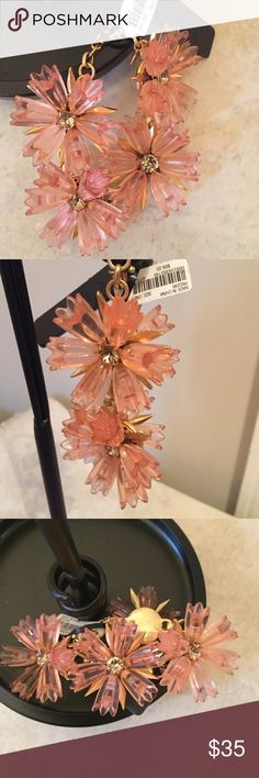 J. Crew Pink Flower Statement Bracelet New with tags! Pink flowers with gold chain and clasp. Super Cute! J. Crew Jewelry Bracelets