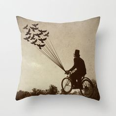 Steampunk, Pillow cover, The Explorer, Sepia, Bicycle, Flying, Birds, Scientist, Victorian, Home Decor, Housewares, Photo pillow, art pillow on Etsy, £24.17