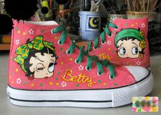Betty Boop Custom Hand Painted HiTop Canvas Shoes by Buysogoods, $54.99